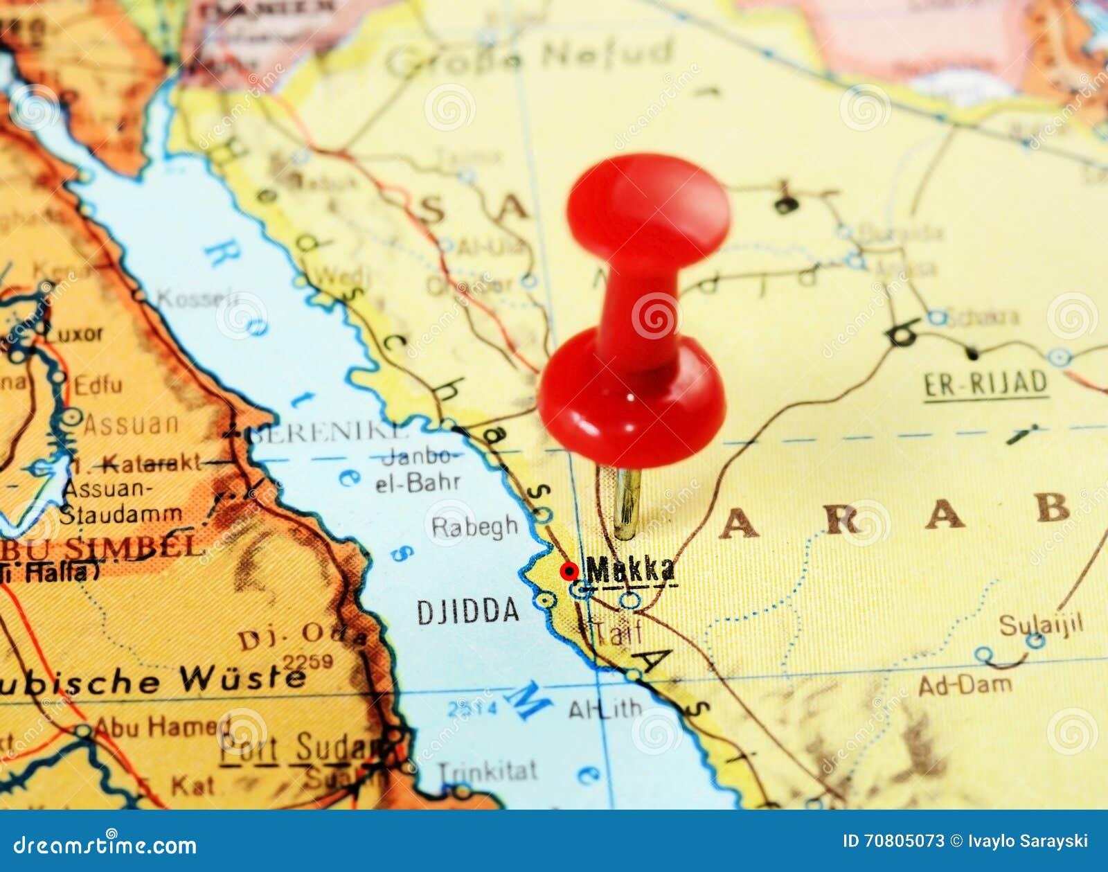 Mecca,Saudi Arabia map stock image. Image of destination - 70805073