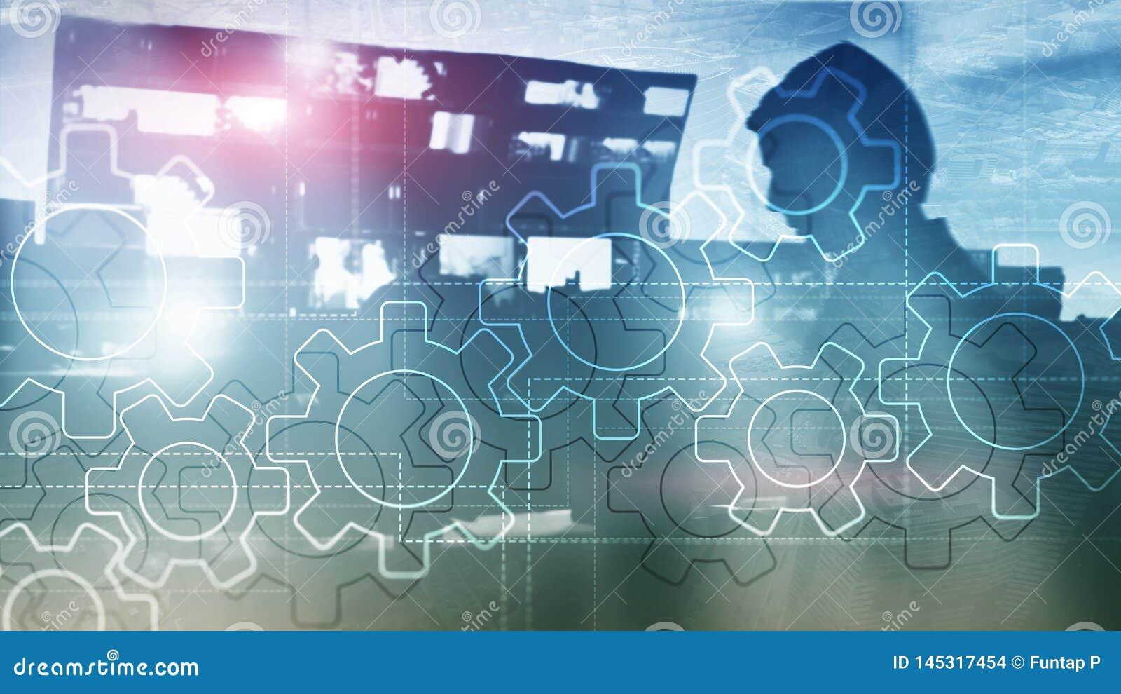 Meccanismo di ingranaggi di doppia esposizione su fondo vago Concetto di automazione di processi di industriale e di affari