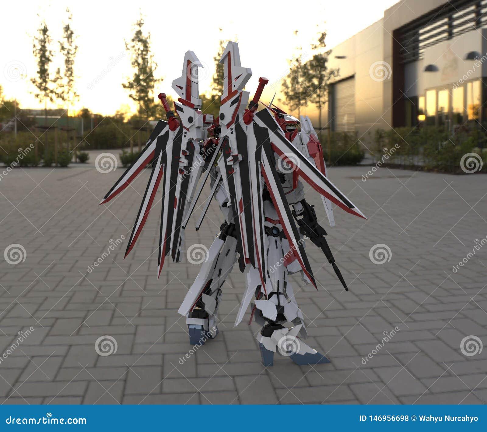Mech militair sc.i-FI die zich op een landschapsachtergrond bevinden Militaire futuristische robot met een groen en grijs kleuren