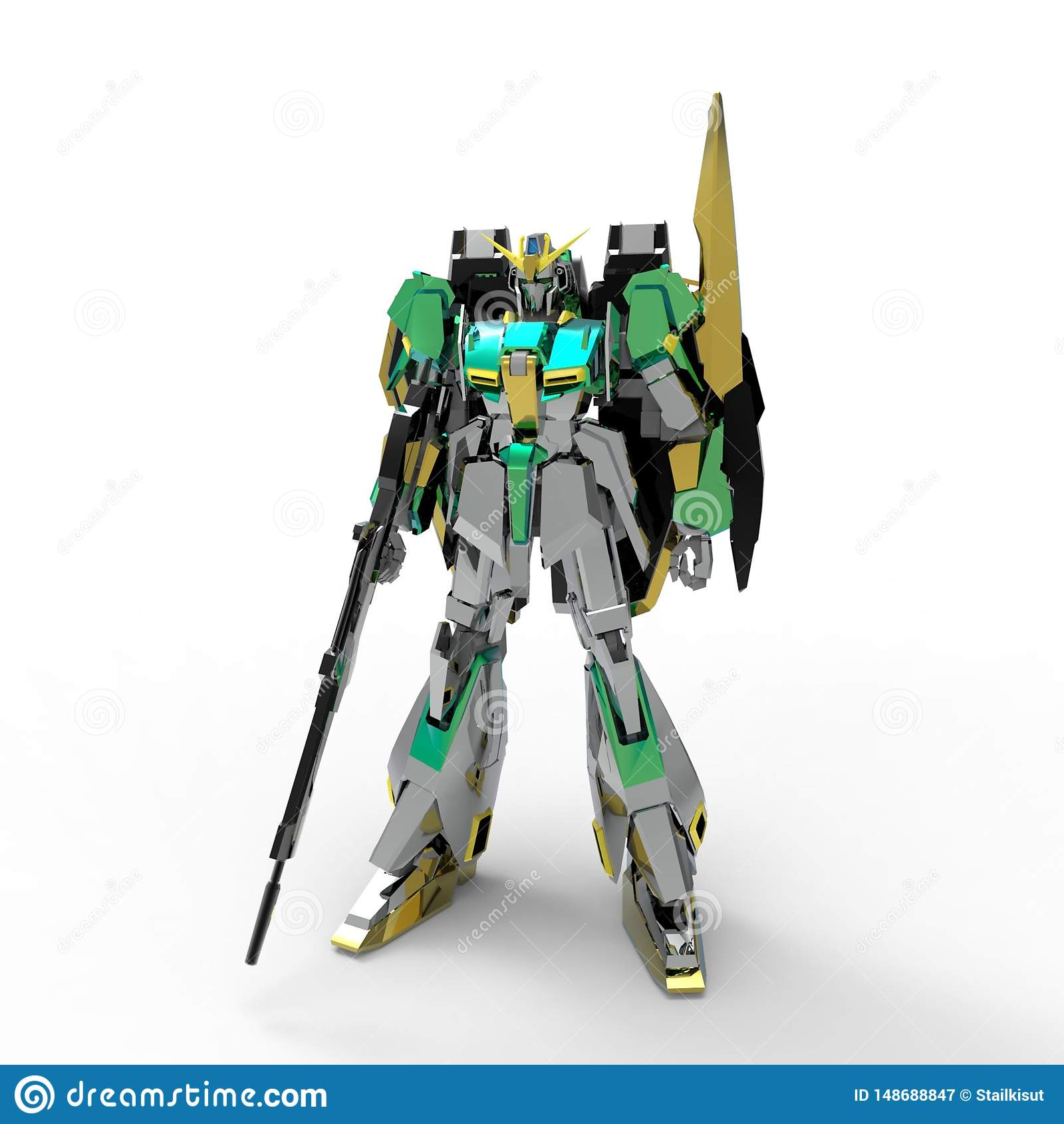 Mech militair sc.i-FI die zich op een witte achtergrond bevinden Militaire futuristische robot met een groen en grijs kleurenmeta