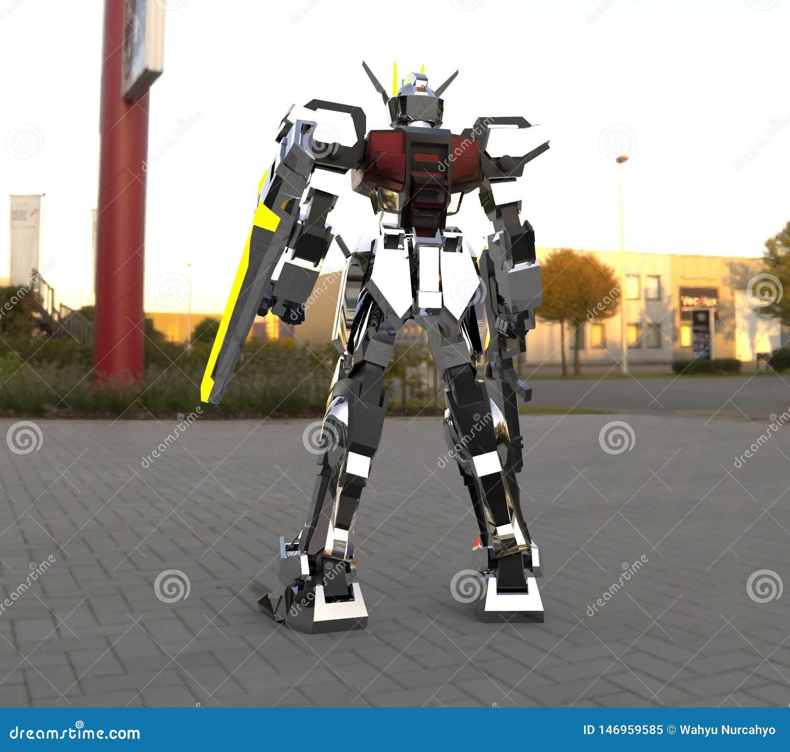 Mech soldatanseende f?r science fiction p? en landskapbakgrund Milit?r futuristisk robot med en gr?splan och en gr? f?rgmetall Me