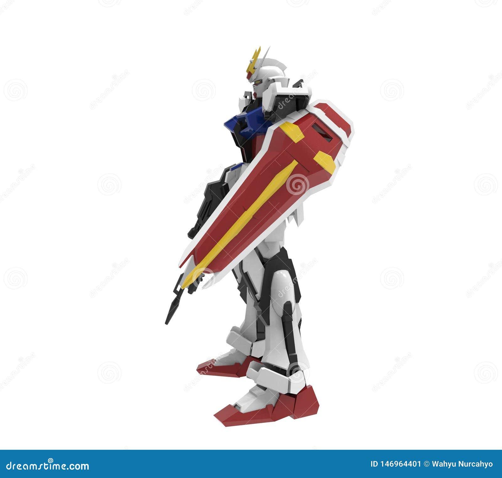 Mech soldatanseende f?r science fiction p? en vit bakgrund Milit?r futuristisk robot med en gr?splan och en gr? f?rgmetall