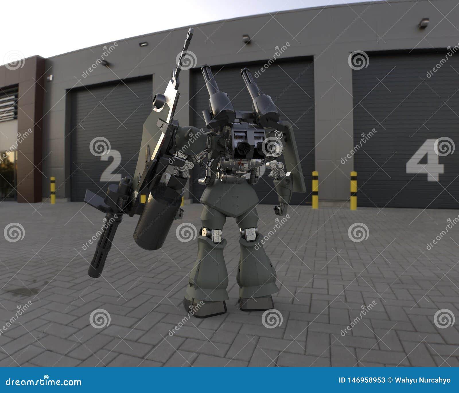 Mech Soldatstellung der Sciencefiction auf einem Landschaftshintergrund Milit?rischer futuristischer Roboter mit einem Gr?n und g