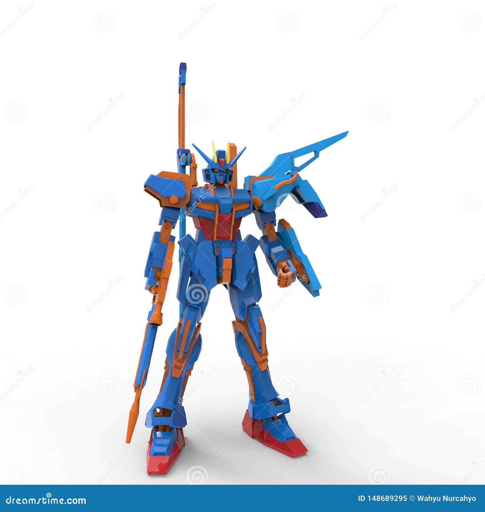 Mech Soldatstellung der Sciencefiction auf einem wei?en Hintergrund Milit?rischer futuristischer Roboter mit einem Gr?n und graue