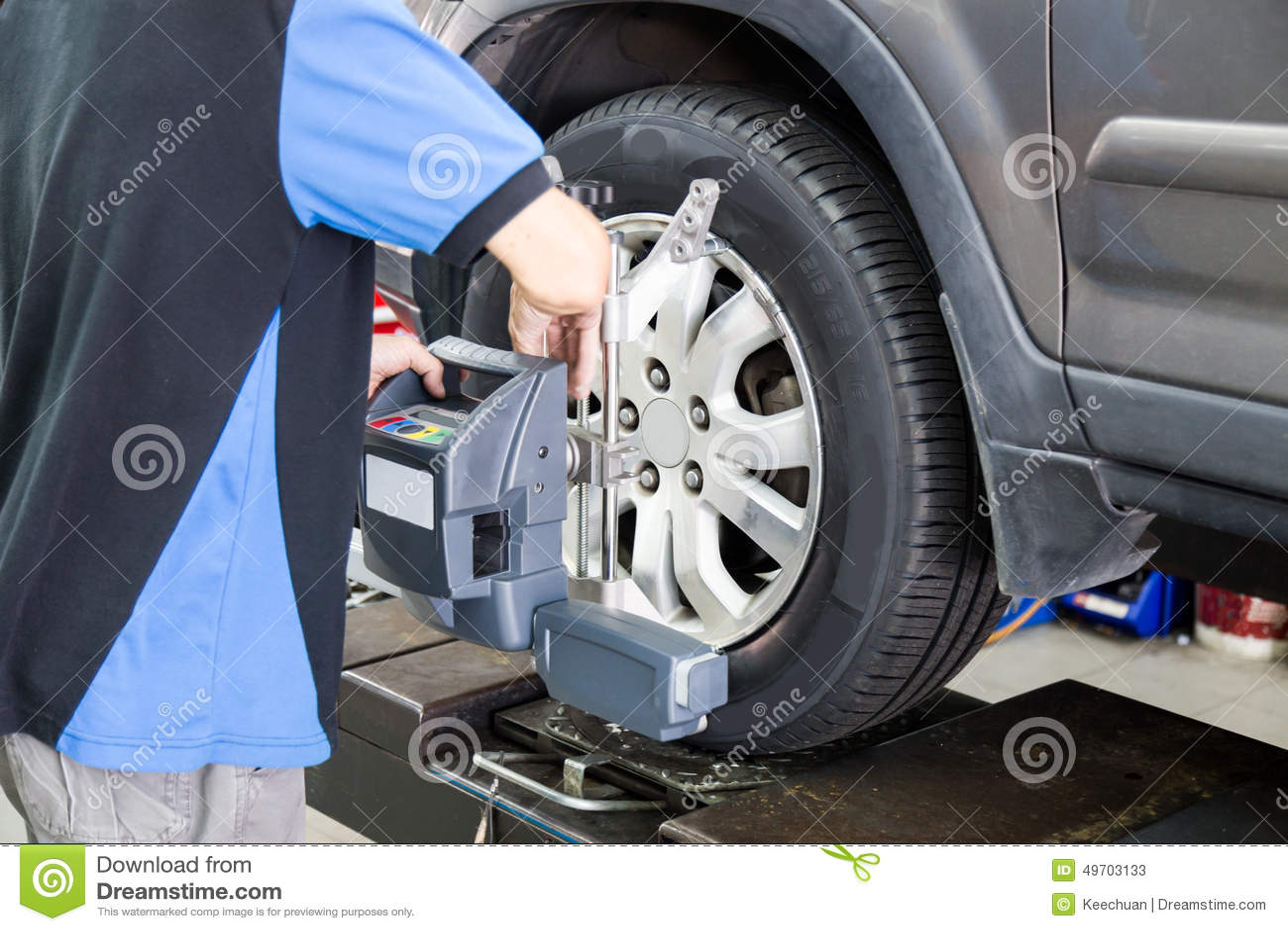 Car At Wheel Alignment Diagnostic Tester Royalty Free