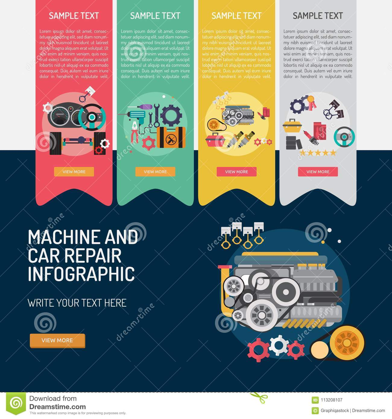 Mechanic And Car Repair Infographic Complex Stock