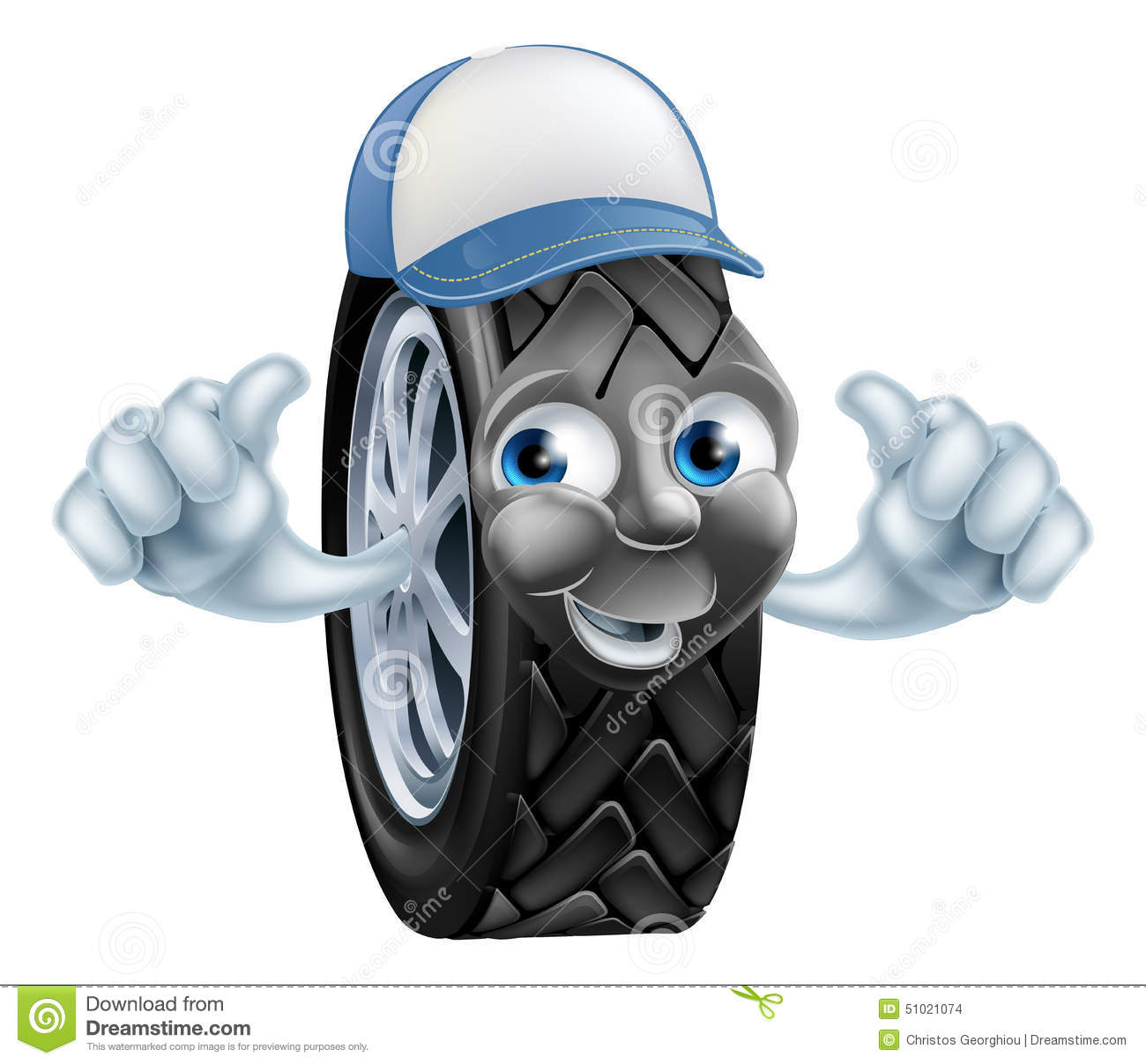 Mechanic With Tyre Giving A Thumbs Up Royalty Free Stock