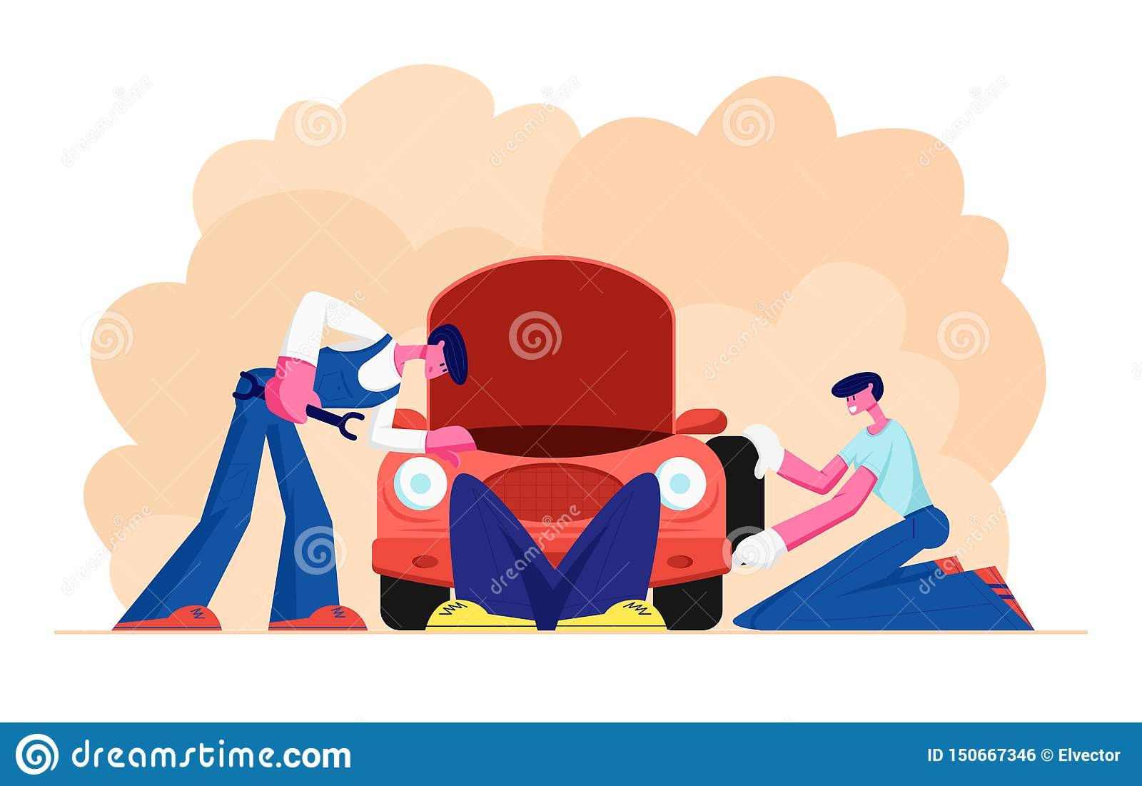 Mechanic Dressed in Blue Overalls Stand near Broken Car with Open Hood Holding Instrument in Hand, Man Lying under Auto