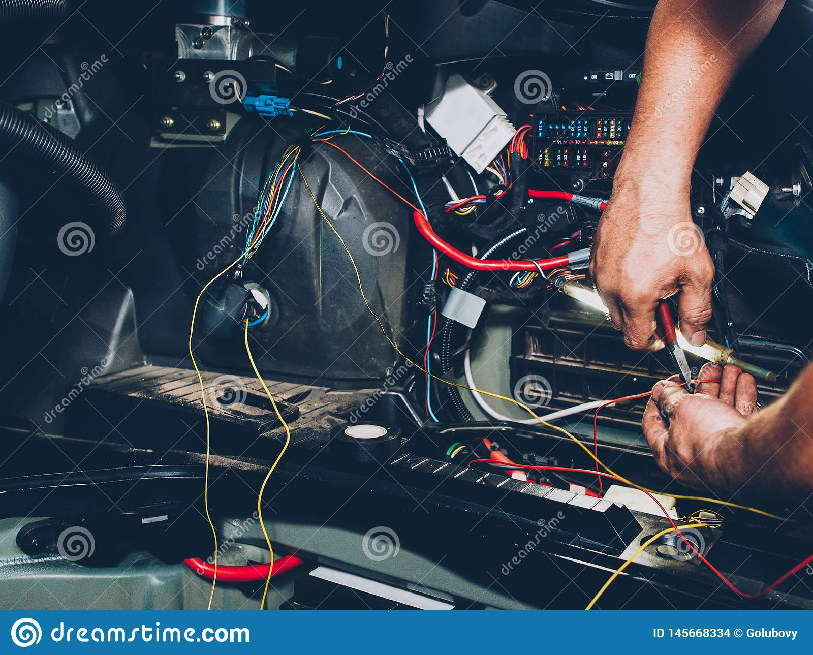 Auto Service Electrician Wiring Car Maintenance Stock Photo ... on