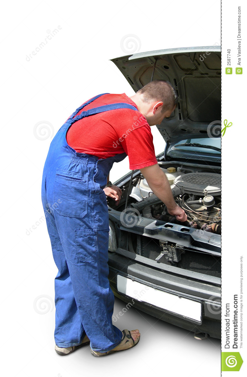 Mechanic Fixing Car Engine Stock Photo Image Of