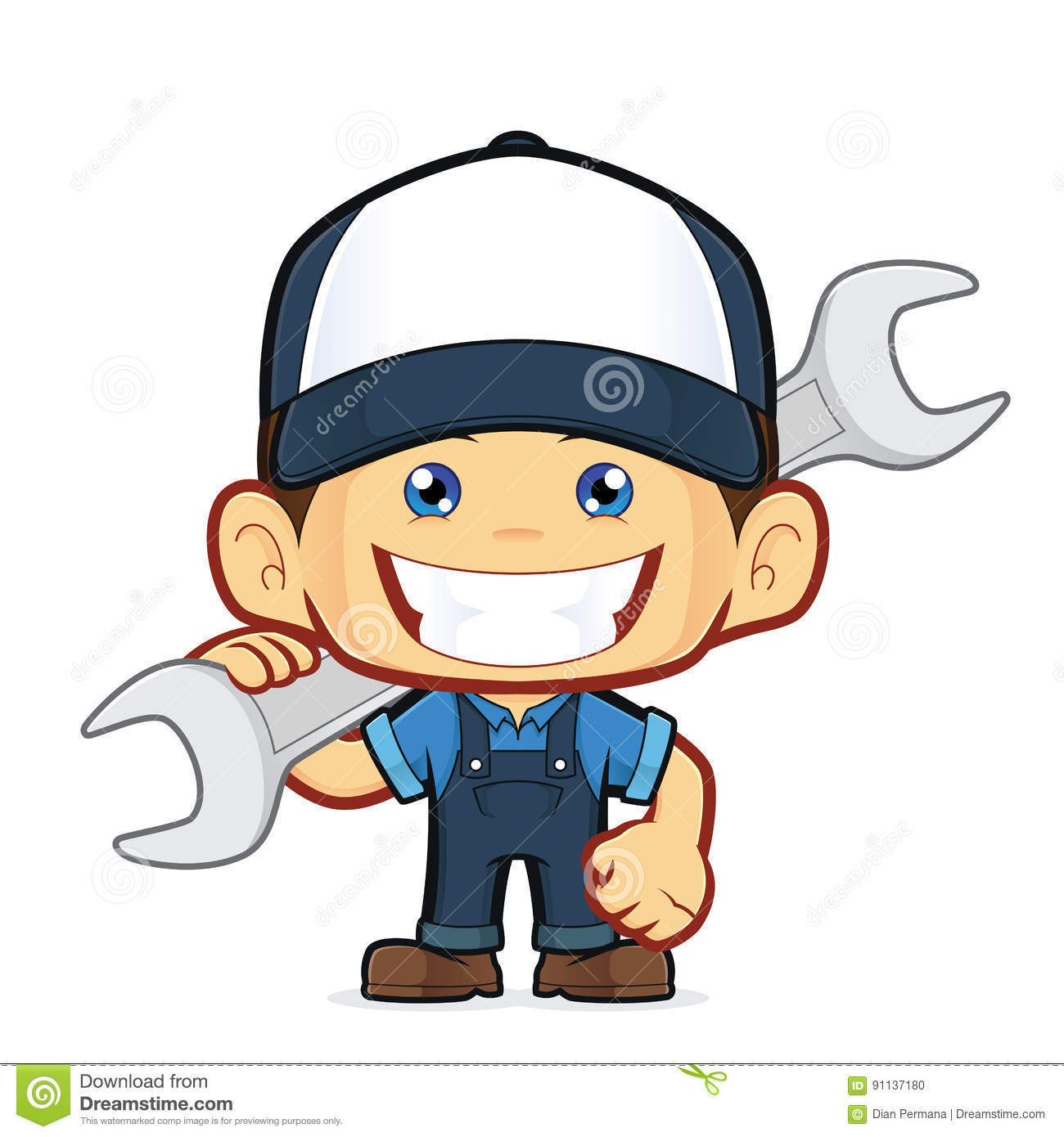 cartoon plumber holding a big wrench vector illustration clip art labor day funny clip art labor day bbq