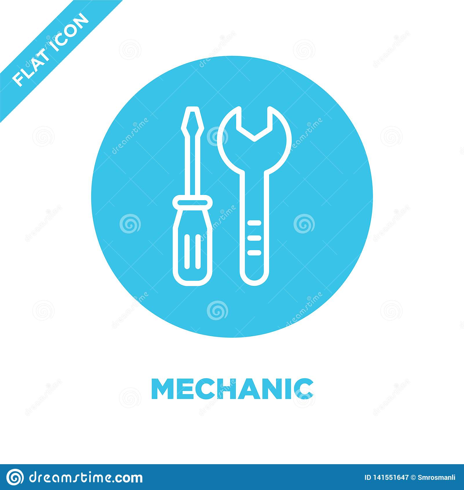 3D Logo. Mechanic With Wrench And Tyre Stock Illustration