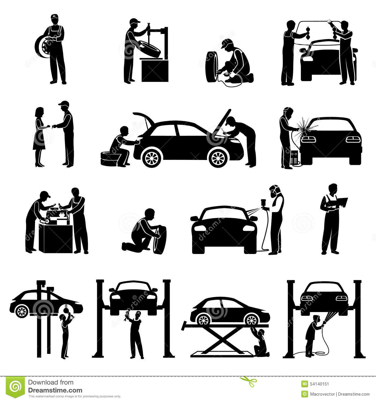 Stock Illustration Mechanic Icons Black Auto Service Set Cars Silhouettes Isolated Vector Illustration Image54140151 on car with flat tire