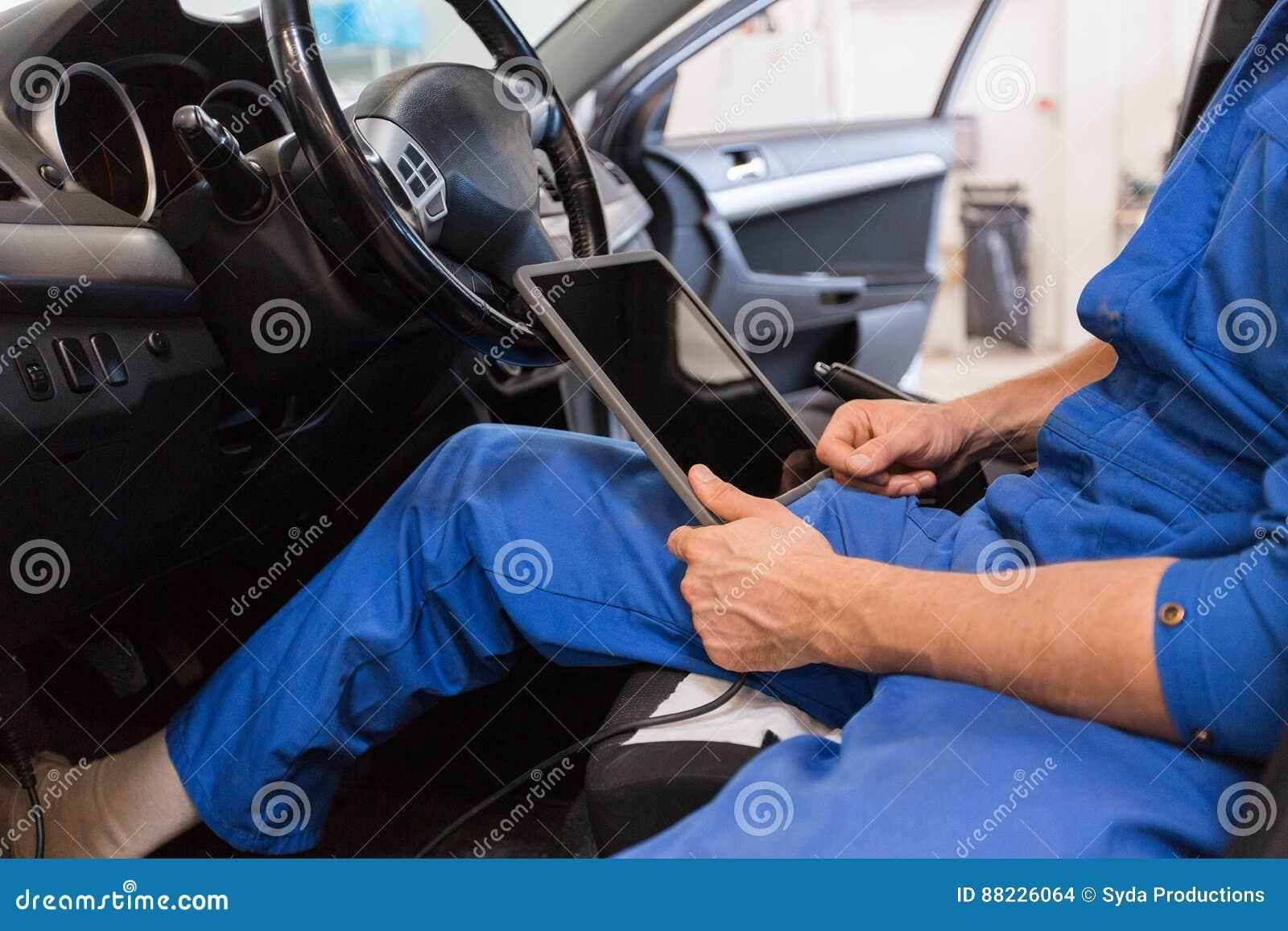Car Diagnostic App >> Mechanic Man With Tablet Pc Making Car Diagnostic Stock Photo   CartoonDealer.com #88226064