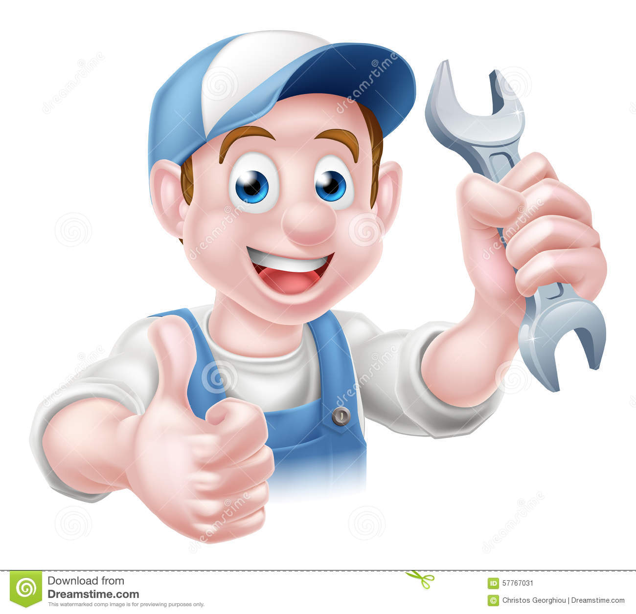 Stock Illustration Mechanic Plumber Cartoon Man Auto Repair Service Handyman Worker Giving Thumbs Up Holding Spanner Image57767031 on Map Clipart