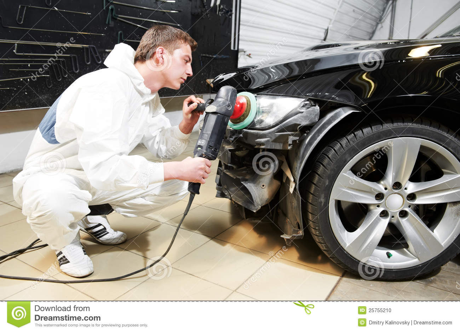 Buffing Car Scratches >> Mechanic Repairing And Polishing Car Headlight Stock Photo - Image: 25755210
