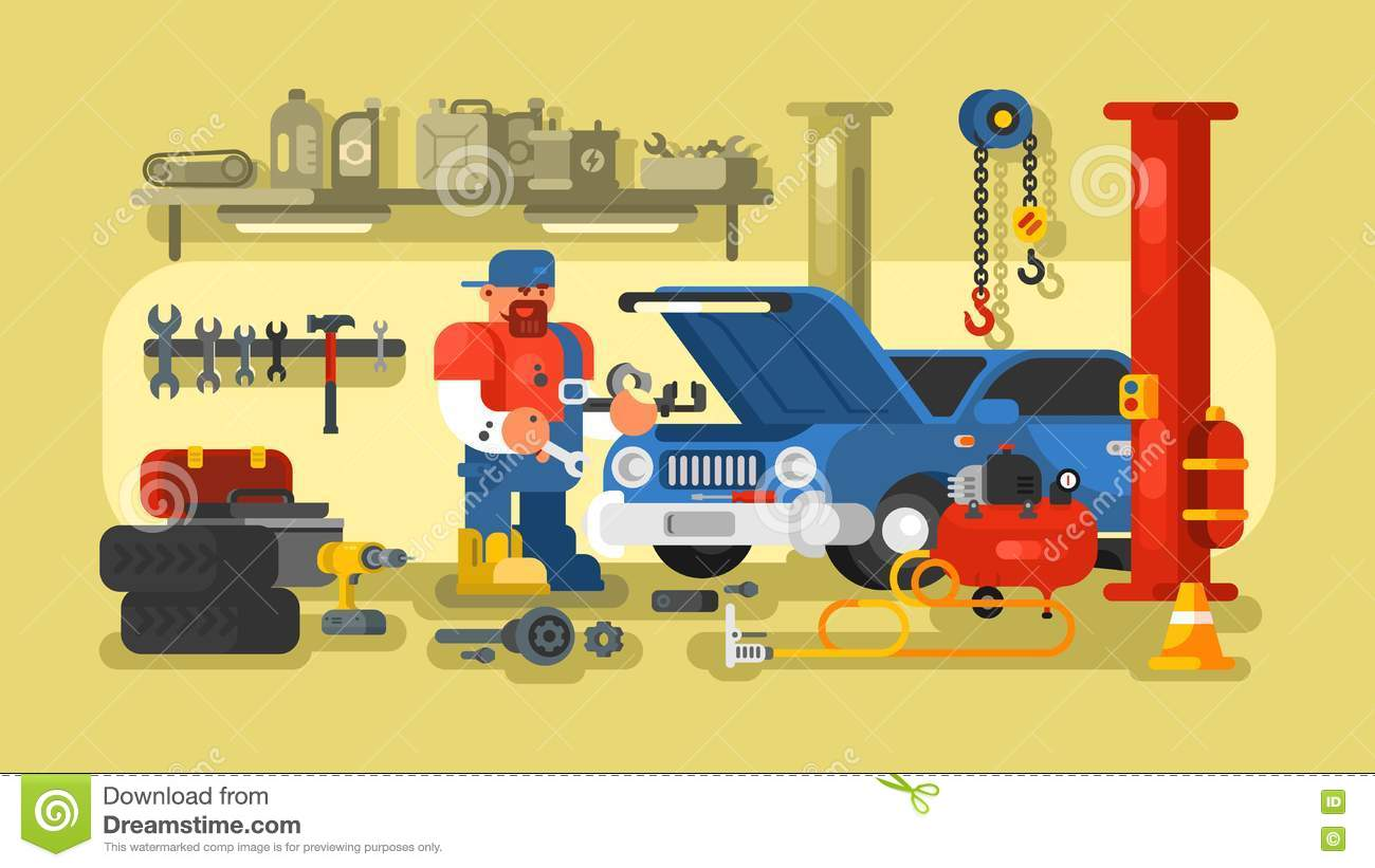 Mechanic repairs car in the garage stock vector for Garage fix auto nimes