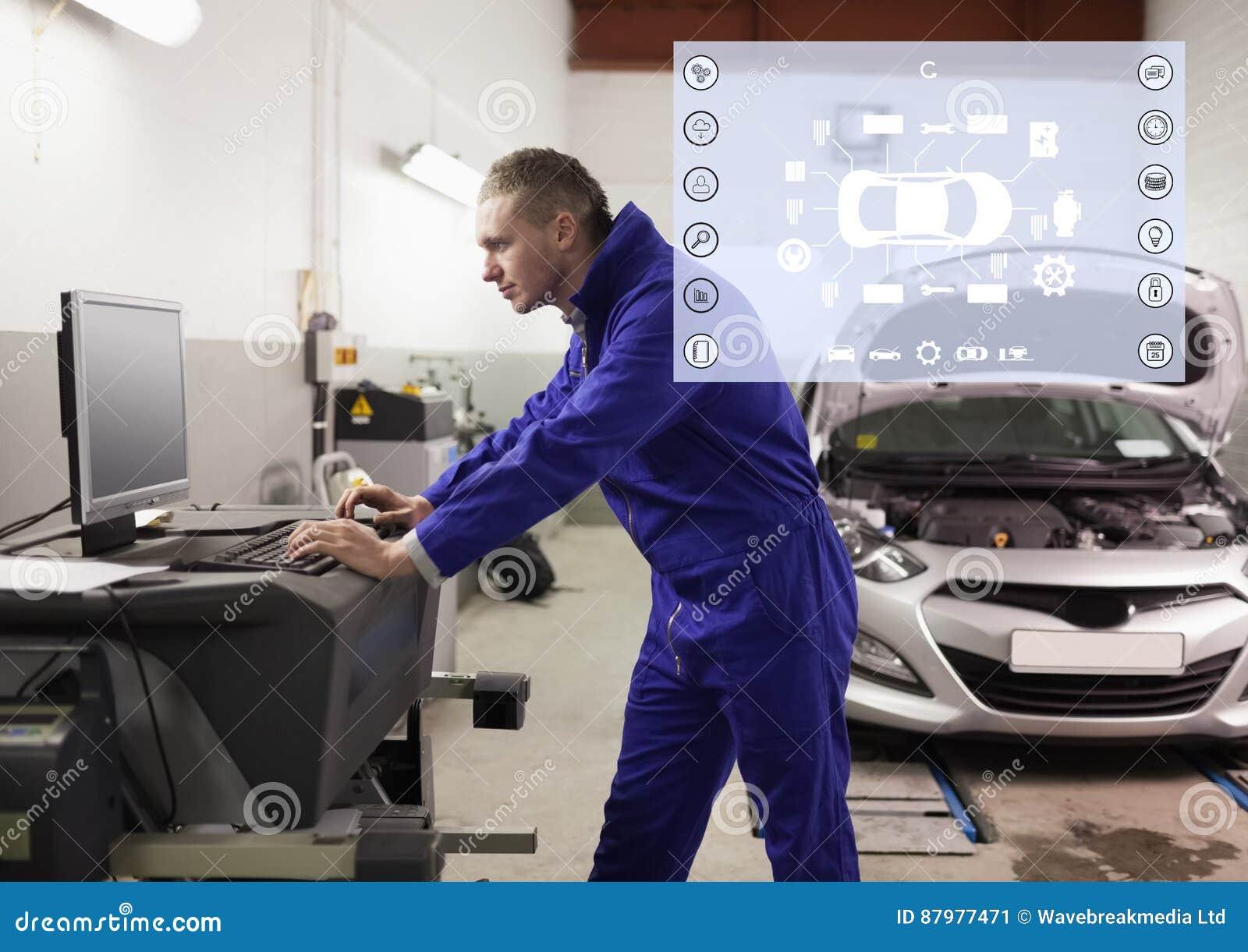 Astounding Mechanic Using Desktop Pc At Garage Stock Image Image Of Interior Design Ideas Oteneahmetsinanyavuzinfo