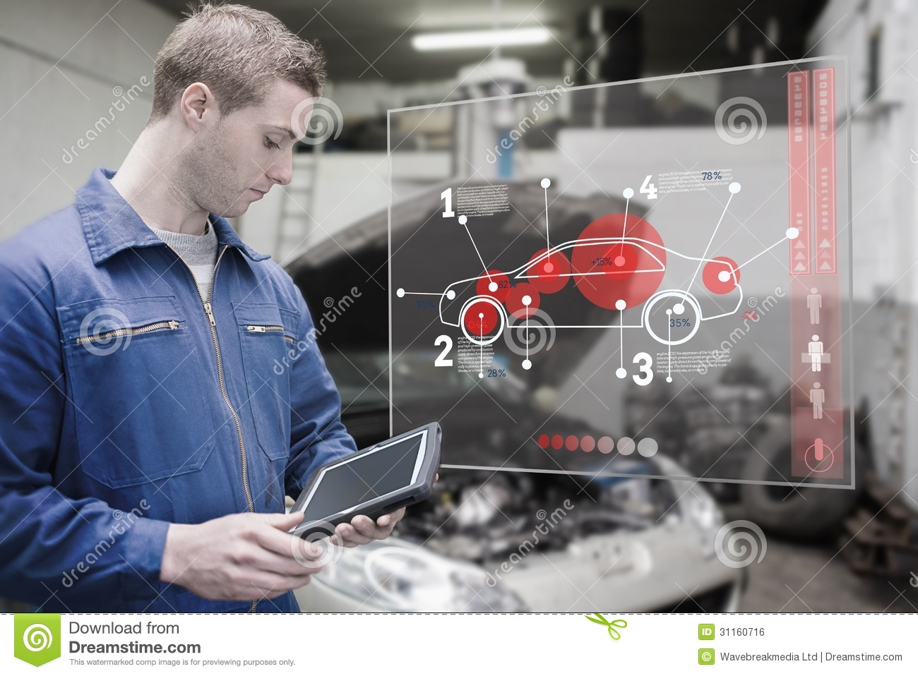 Mechanic Using Tablet And Futuristic Interface Royalty