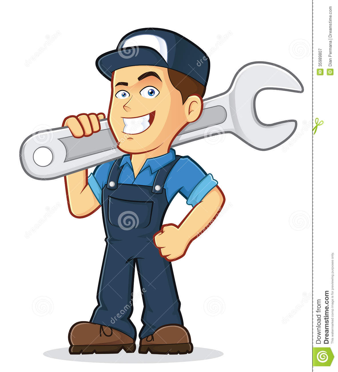 Vector clipart picture of a male mechanic cartoon character holding a ...