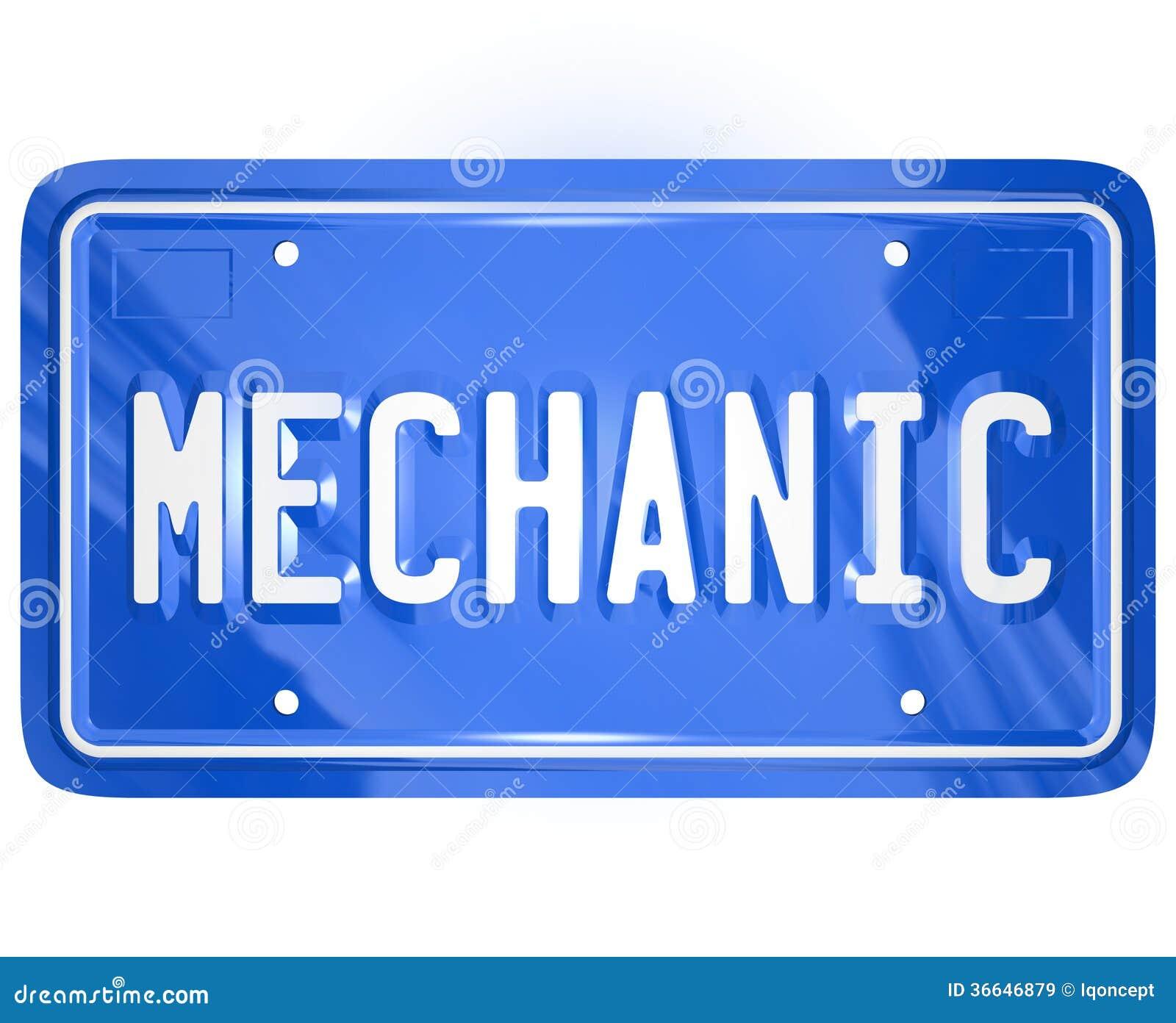 Mechanic word vanity license plate auto repair shop garage for Motor vehicle repair license