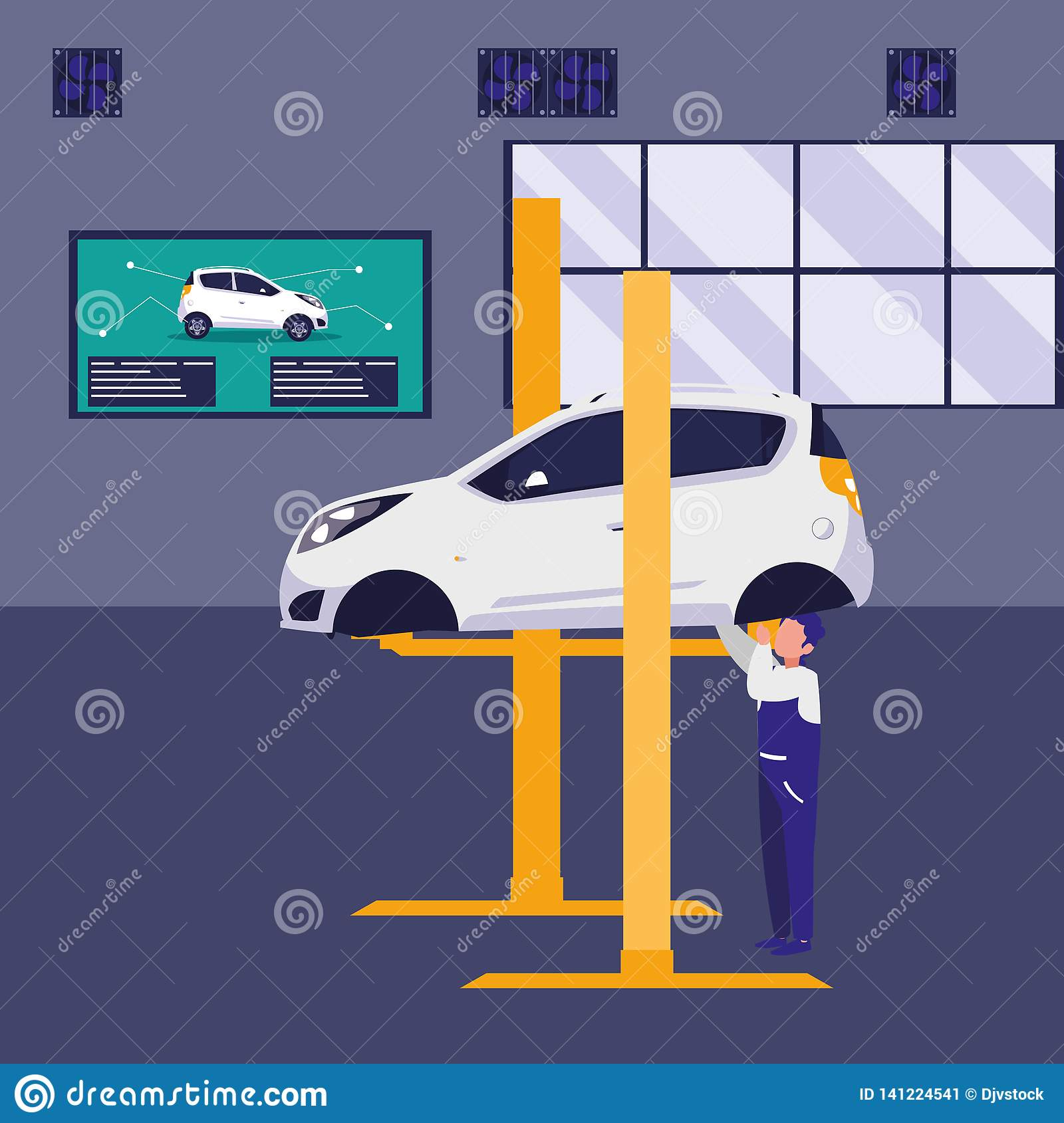 Mechanic Worker With Car In Platform Stock Vector - Illustration of