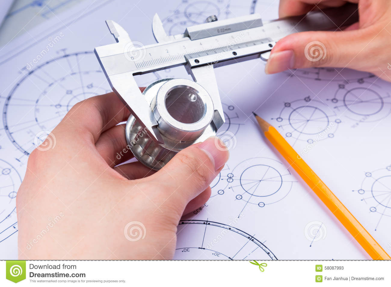 Mechanical Design Engineer In Drawing Stock Photo Image