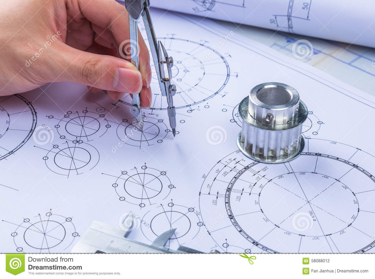 Mechanical Design Engineer In Drawing Stock Photo - Image of circle, blue: 58088012