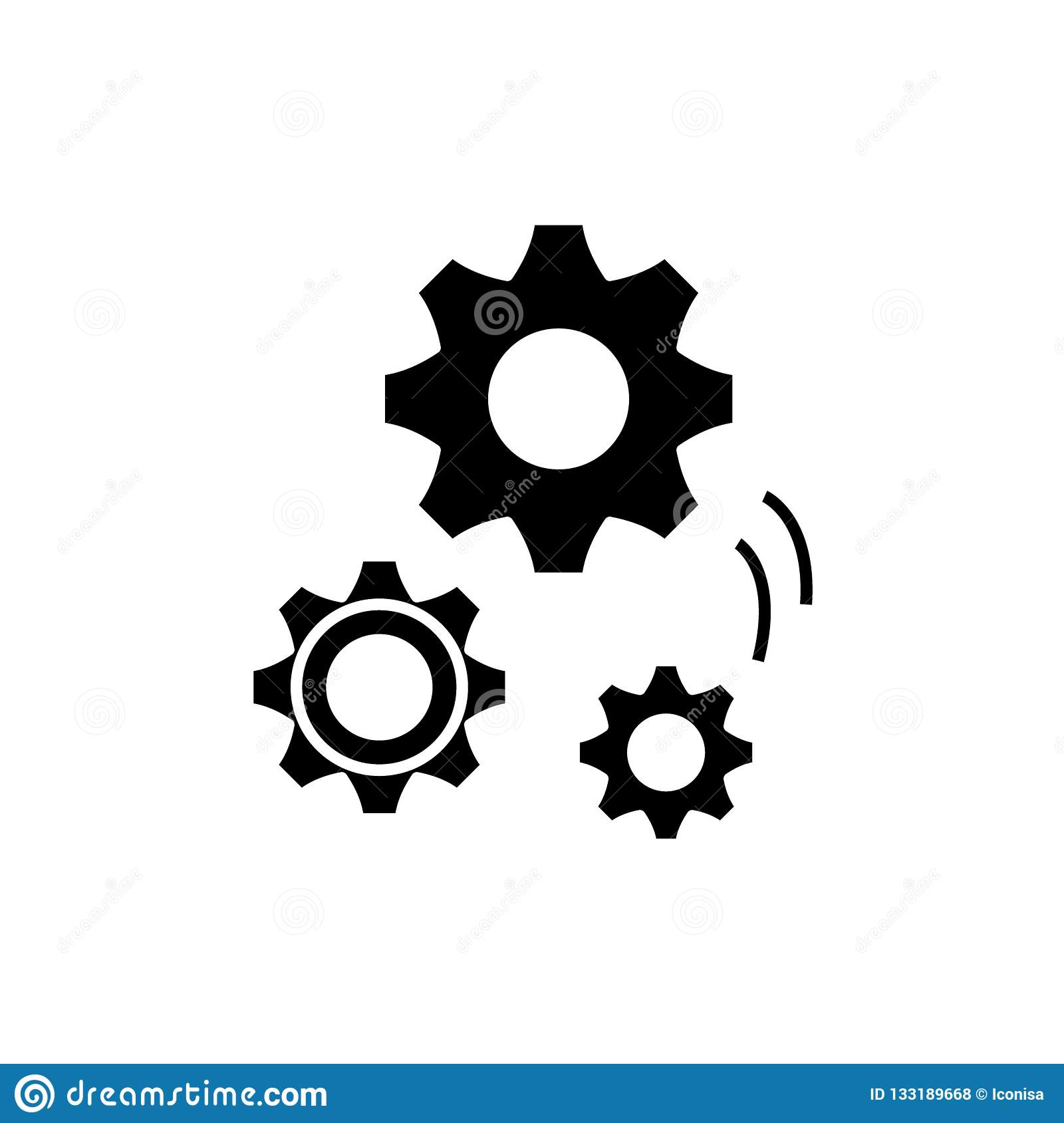 Mechanical Engineering Black Icon Vector Sign On Isolated