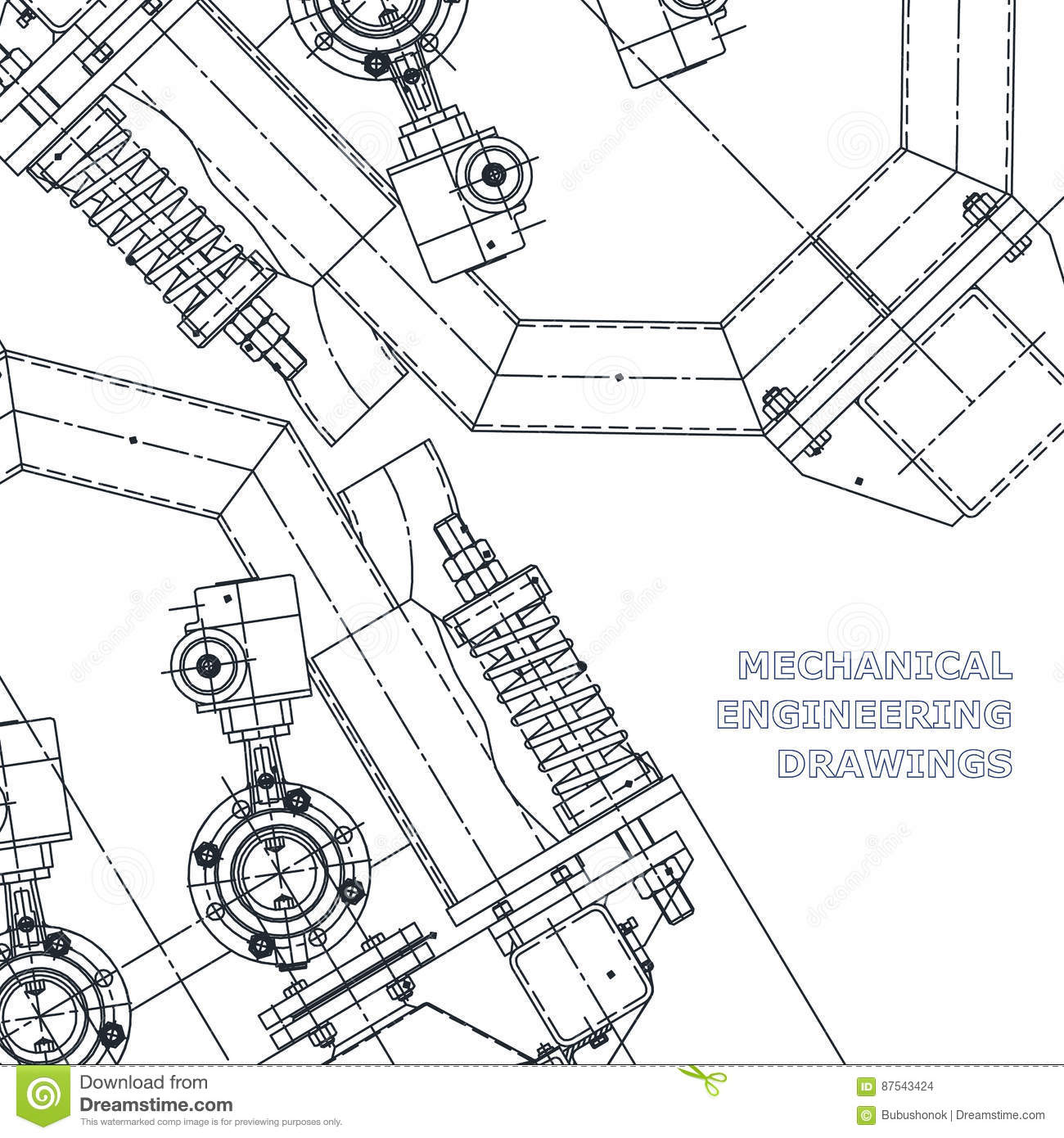 Mechanical Engineering The Drawing. Technical Illustration Stock ...