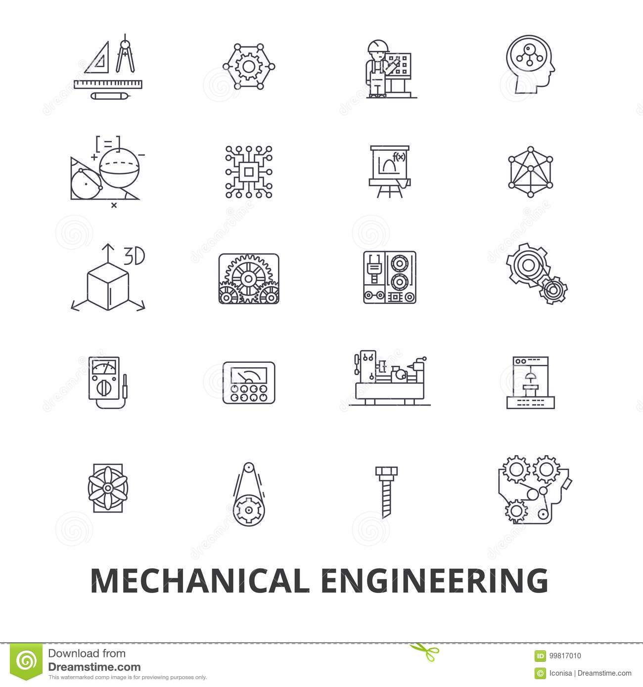 Mechanical Engineering, Mechanic, Electrical, Gears, Electronic, Car  Mechanic Line Icons. Editable Strokes. Flat Design Vector Illustration  Symbol Concept.