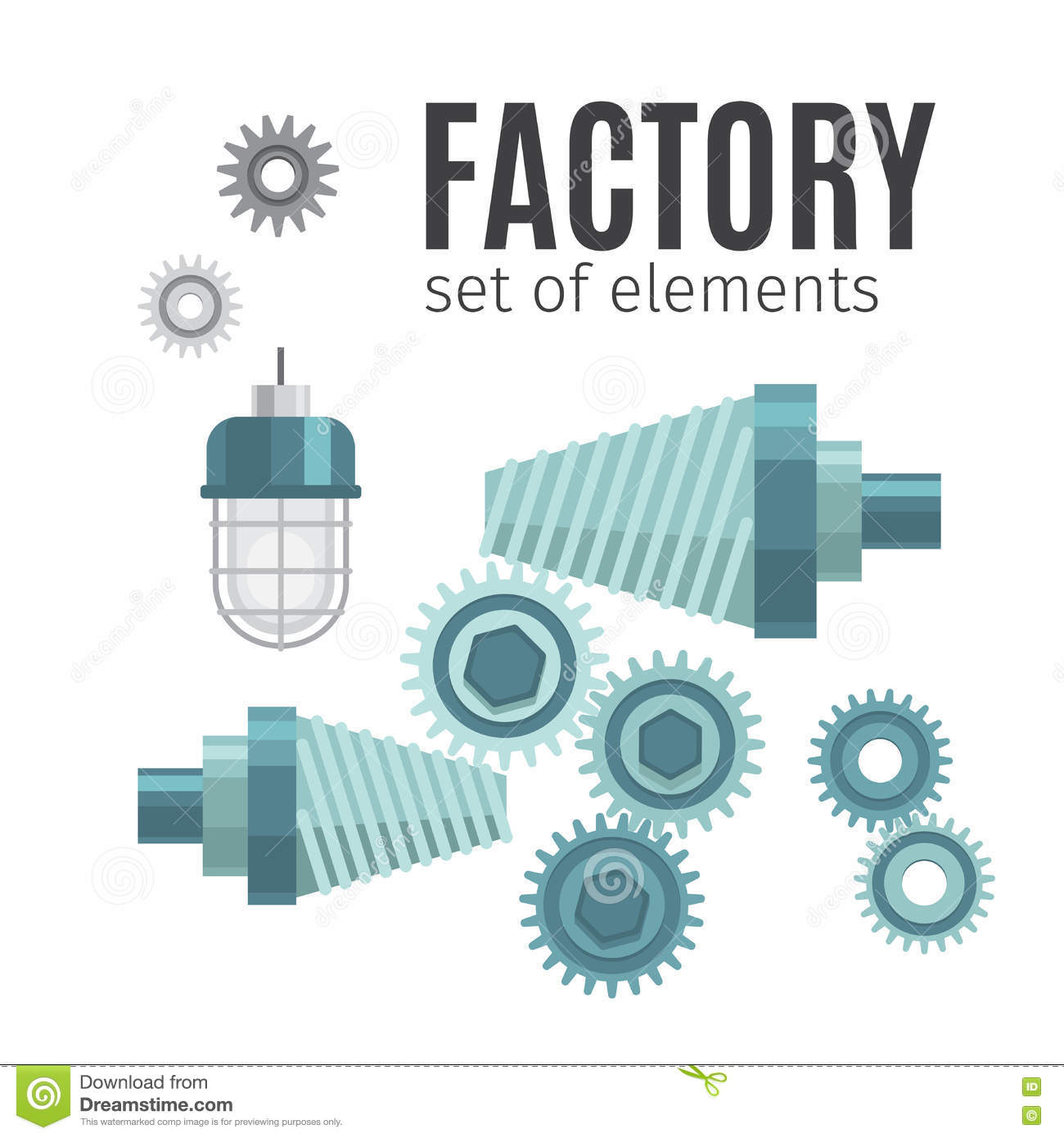 Mechanical Gears Set Of Elements Stock Vector - Illustration of