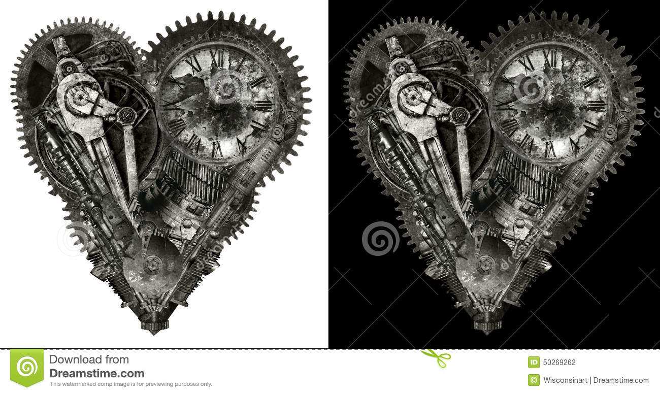 Mechanical Human Love Heart Isolated