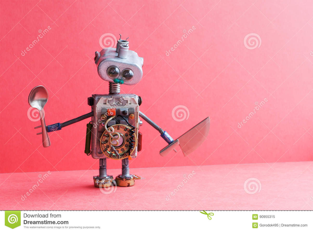 A Kitchen With Vintage Character: Mechanical Kitchen Chef Robot Knife Spoon. Funny Toy