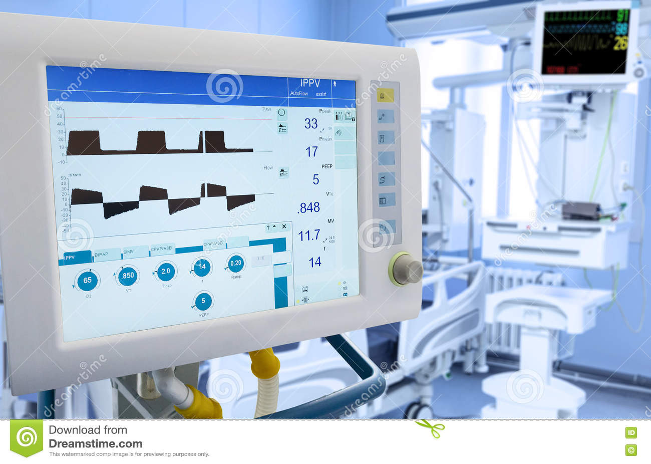mechanical lung ventilation in icu stock photo - image of heartbeat