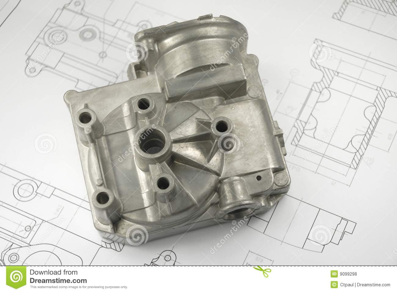 Mechanical Part On Engineering Drawing Royalty Free Stock Photos - Image: 9099298