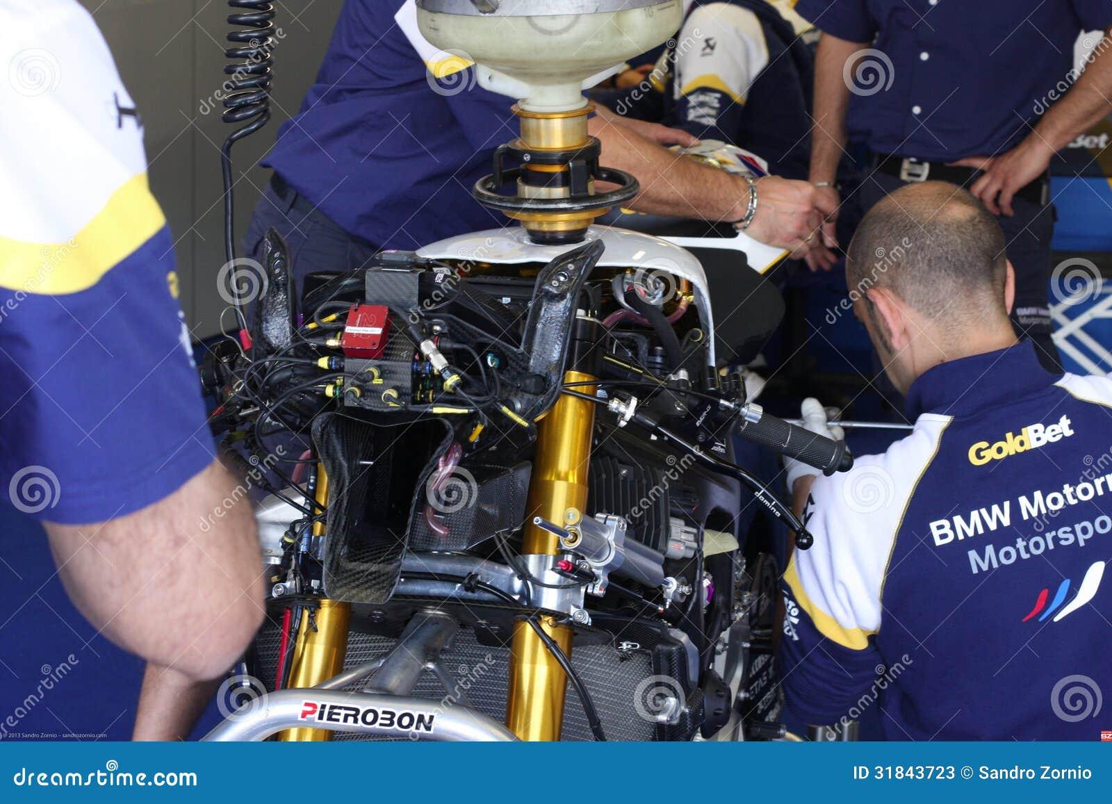 Mechanical refill petrol on BMW S1000 RR with BMW Motorrad GoldBet SBK Team Superbike WSBK