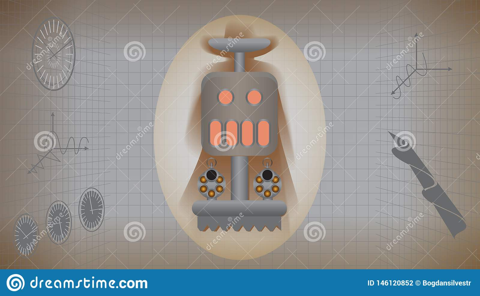 Mechanical retro monster with colts in infographics style