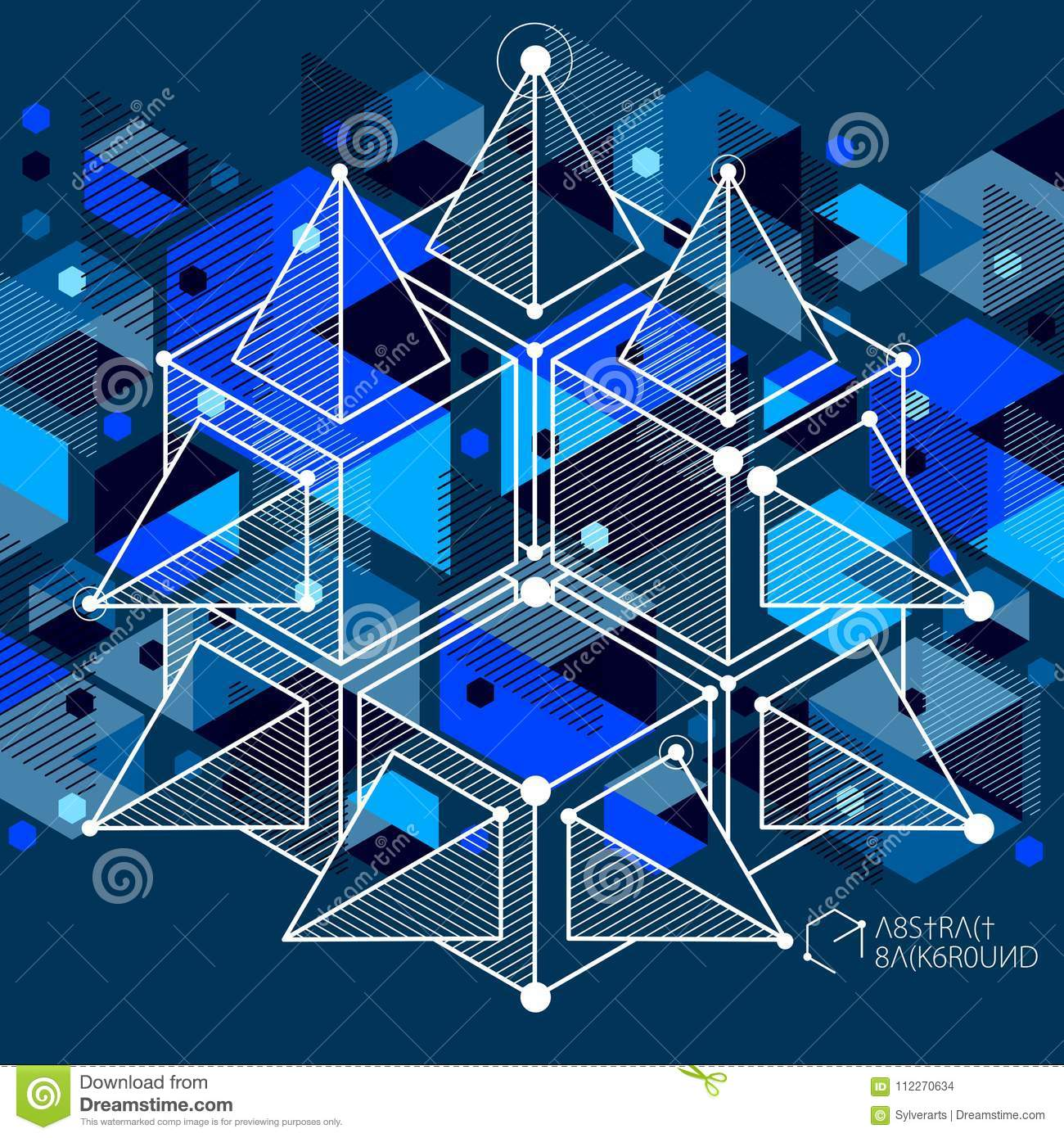Mechanical Scheme Dark Blue Vector Engineering Drawing With 3D Cubes And Geometric Elements Technological Wallpaper Made Honeycombs