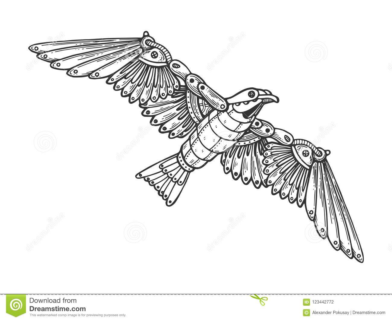 Mechanical seagull bird animal engraving vector