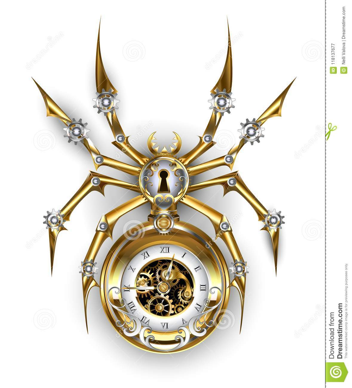 Spider With Clock Steampunk Stock Vector - Illustration of ...