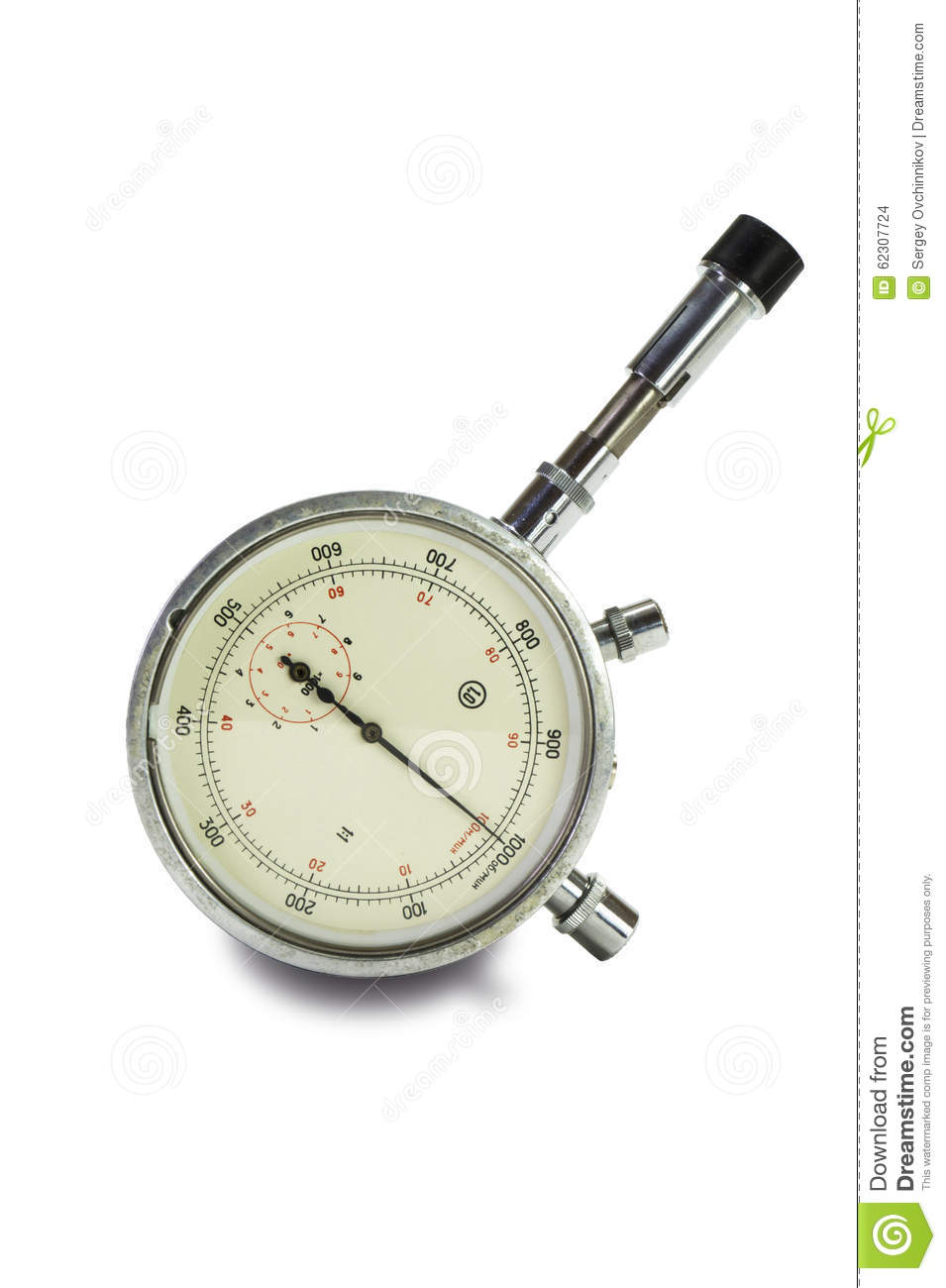 Mechanical Tachometer Is Insulated On Light Background Stock Photo
