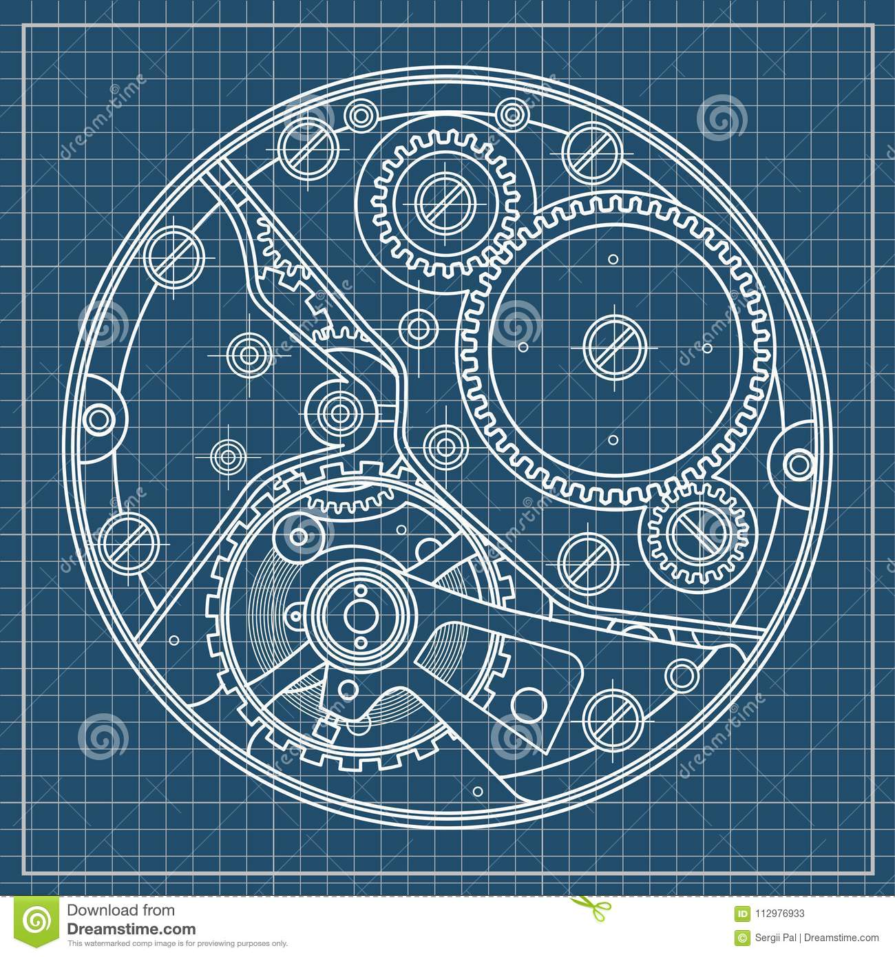 Mechanical watches plan with gears. Drawing of the internal device. It can be used as an example of harmonious