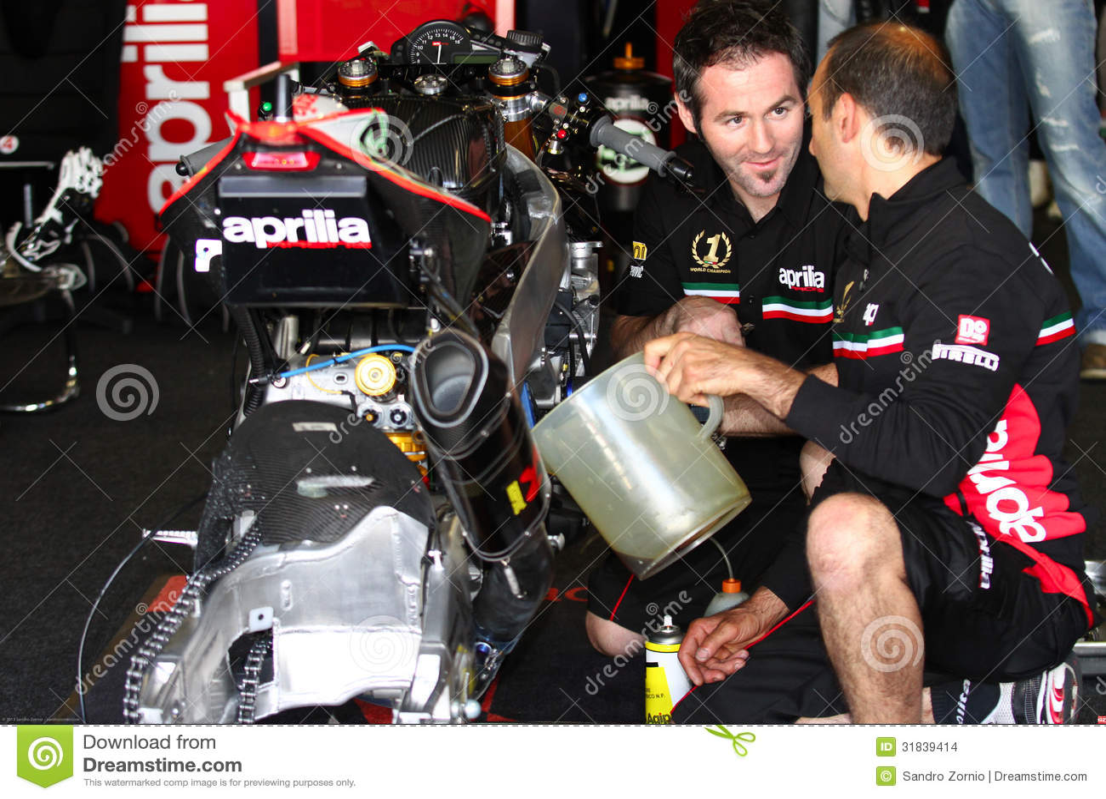 Mechanical working on Aprilia RSV4 1000 Factory with Aprilia Racing Team Superbike WSBK