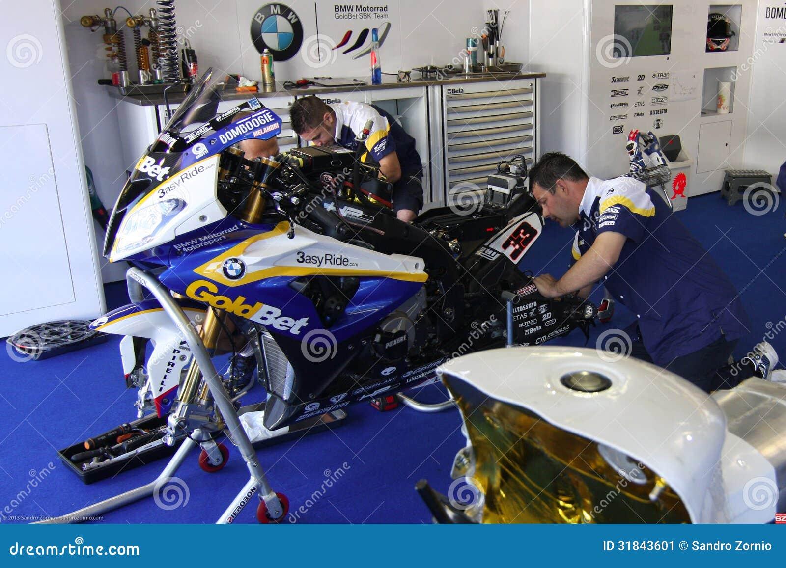 Mechanical working on BMW S1000 RR with BMW Motorrad GoldBet SBK Team Superbike WSBK
