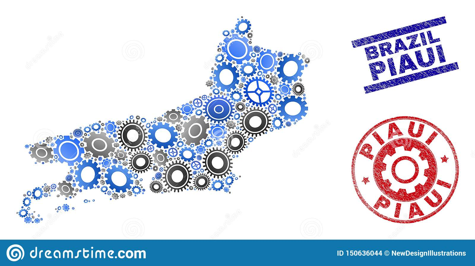 Mechanics Collage Vector Piaui State Map and Grunge Stamps