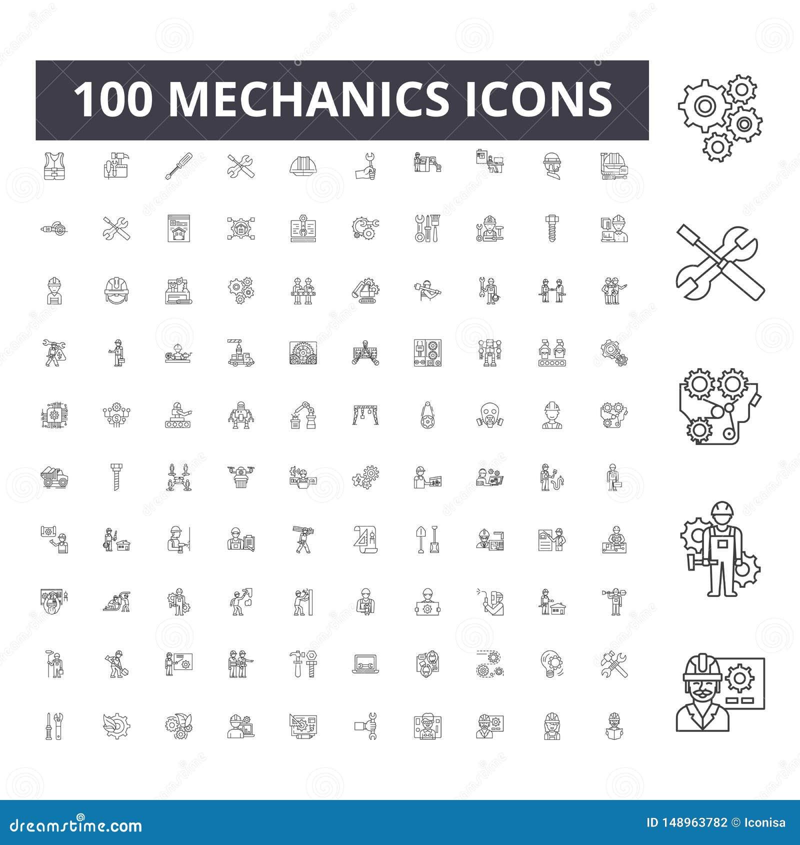 Mechanics line icons, signs, vector set, outline illustration concept