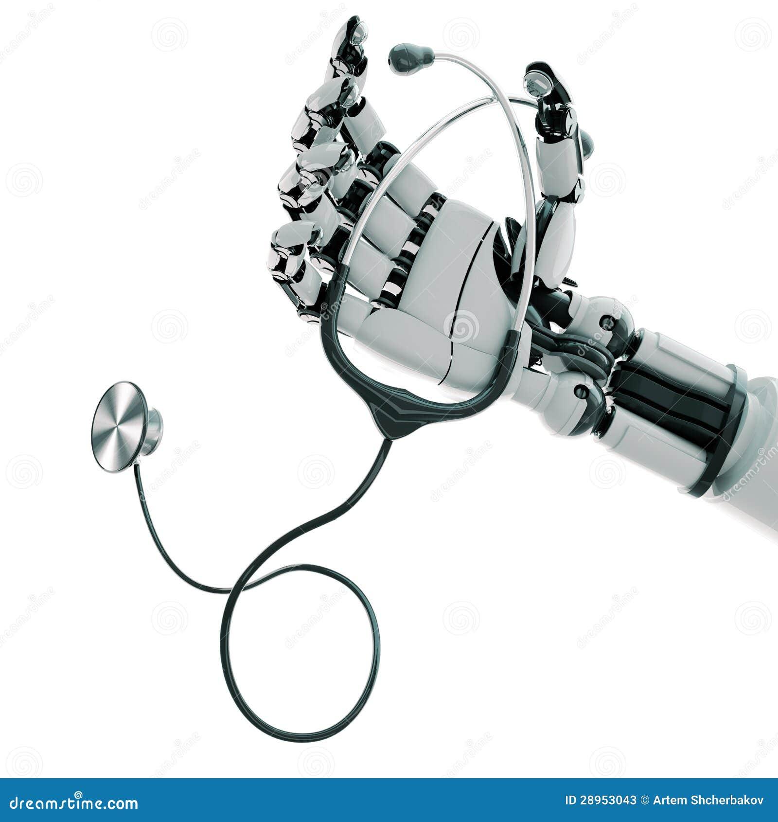 Mechaniczna ręka i stetoskop