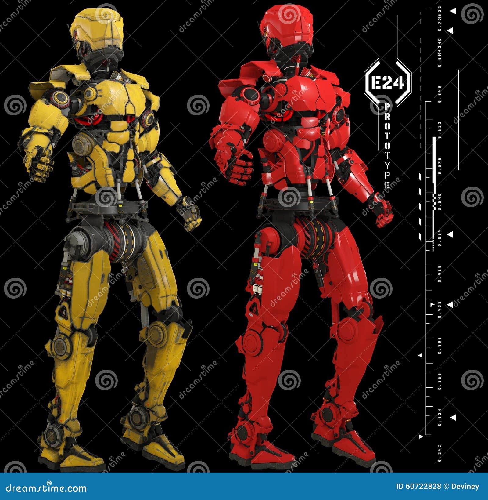 Mechaniczne postacie z grafika