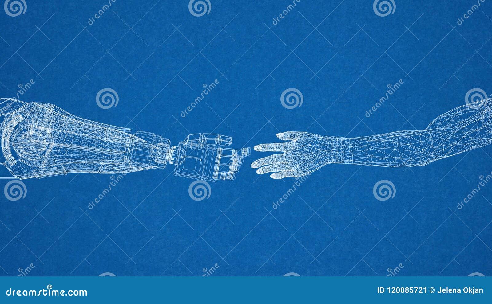 Mechaniczny I Ludzki ręka projekt - architekta projekt